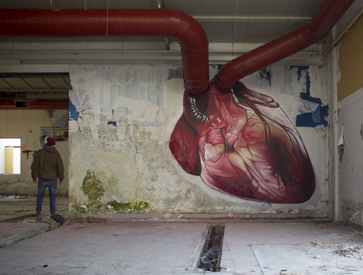Cool pre valentine 39 s day beating heart street art by for Blood in blood out mural location