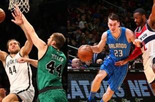 Bojan Bogdanović (Brooklyn Nets) and Mario Hezonja (Orlando Magic)