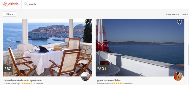 Airbnb rentals up over 100% in Croatia (screenshot)