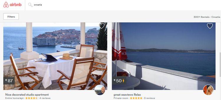 Airbnb rentals up over 100% in Croatia (screenshot)