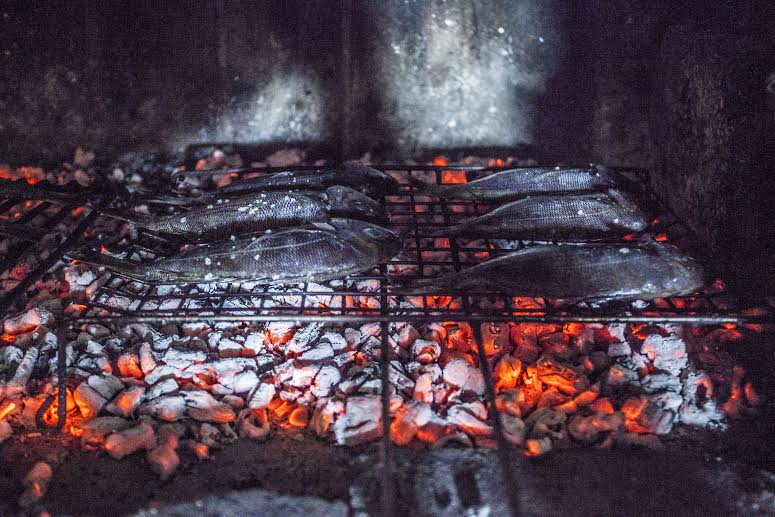 Black seabream over coals