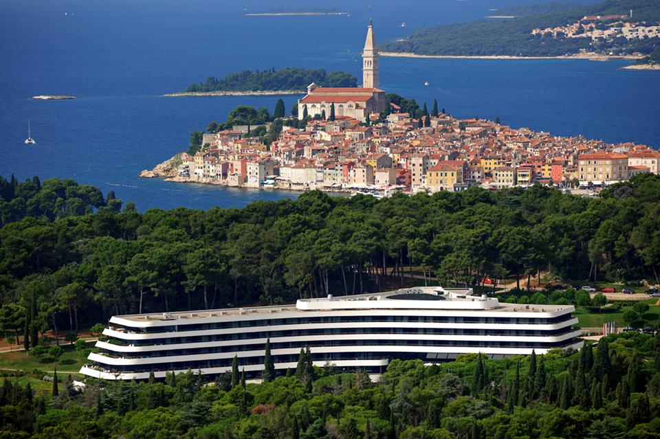 Lone docked in front of stunning Rovinj