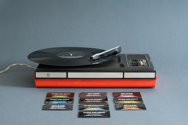 croatian design creates playable business cards from old vinyl