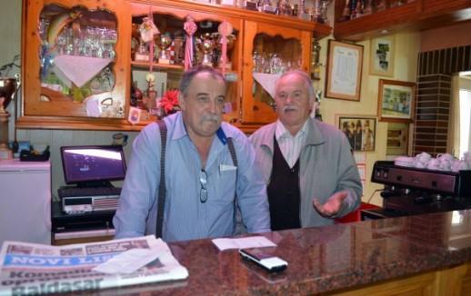 Owner Miro Klarić and Slavko Križ at Cafe Klarić (photo credit: M. KRMPOTIĆ)