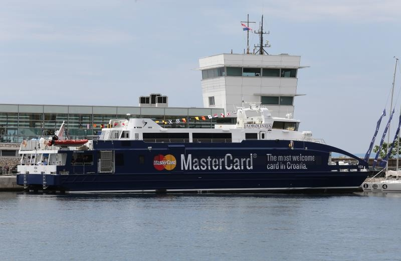 New catamaran unveiled in Rijeka today (photo credit: Goran Kovacic/PIXSELL)