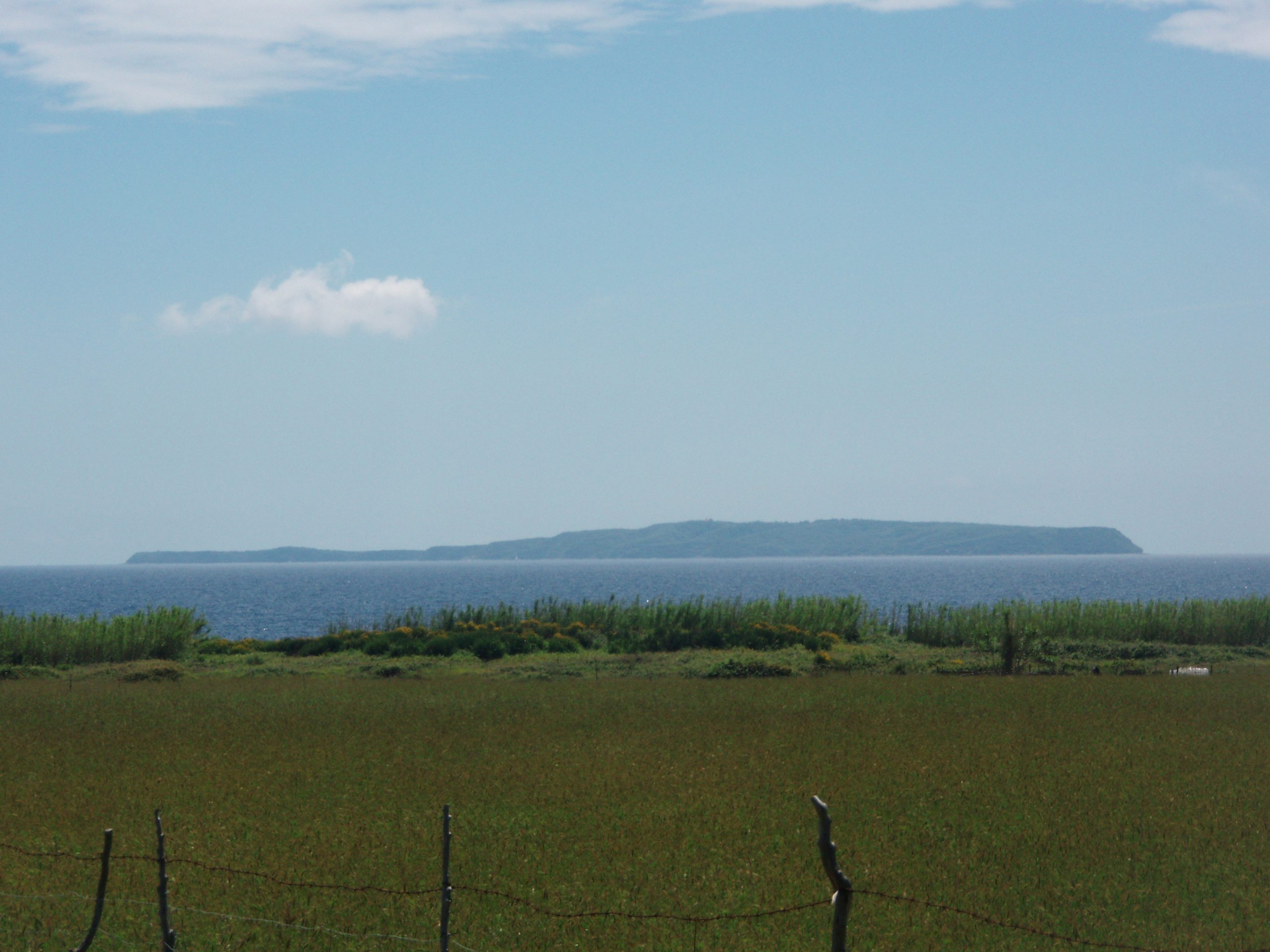Outlines of Susak as seen from Unije. The tall grass has replaced tiled fields – a consequence of deagrarization that has affected small Croatian islands.