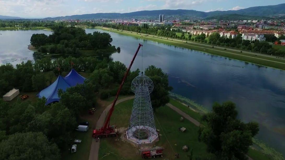 Tesla Tower replica at Jarun in Zagreb (photo: screenshot)