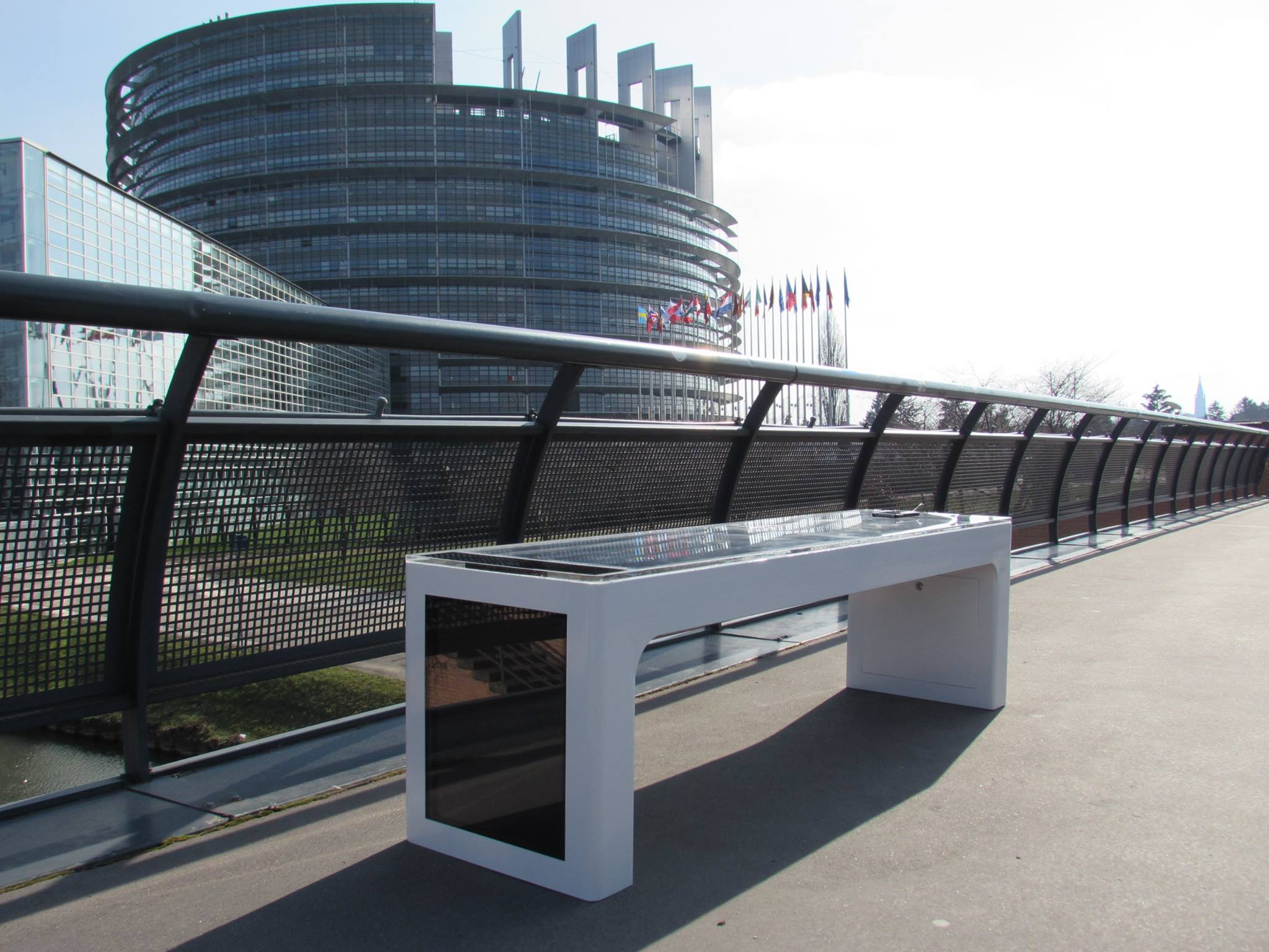 Bench in front of the European Parliament