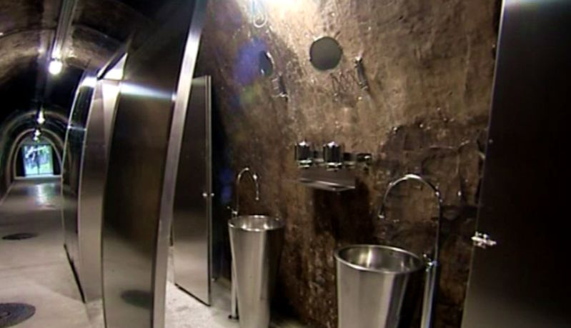 Toilets inside the tunel