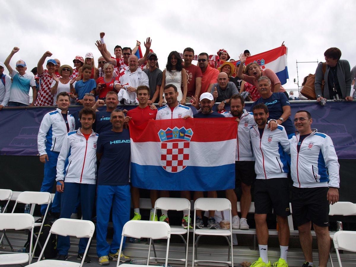 Croatia celebrate Davis Cup win against USA on the weekend (photo: Davis Cup/Twitter)