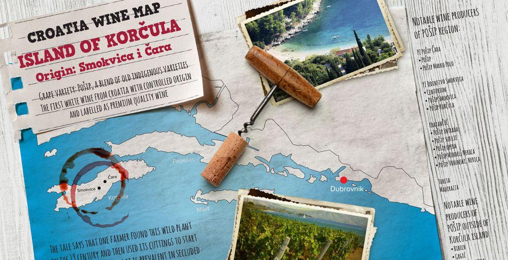 Croatia Wine Map: Korčula's Indigenous Pošip Grape
