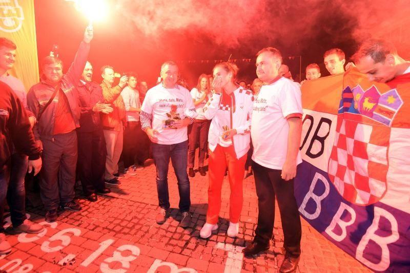 Gold medalist Sara Kolak arrives in her home town Ludbreg (photo credit: Vjeran Zganec Rogulja/PIXSELL)