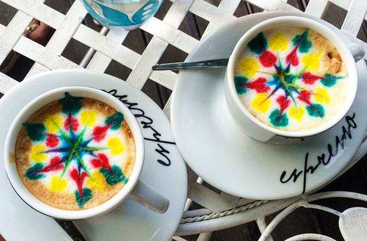 Multicoloured coffee at Cafe Sjedi 5 (photo credit: Sjedi 5)