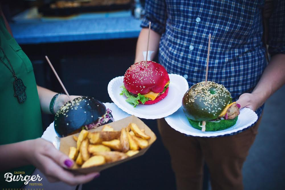 Red, green and black burger buns have been popular