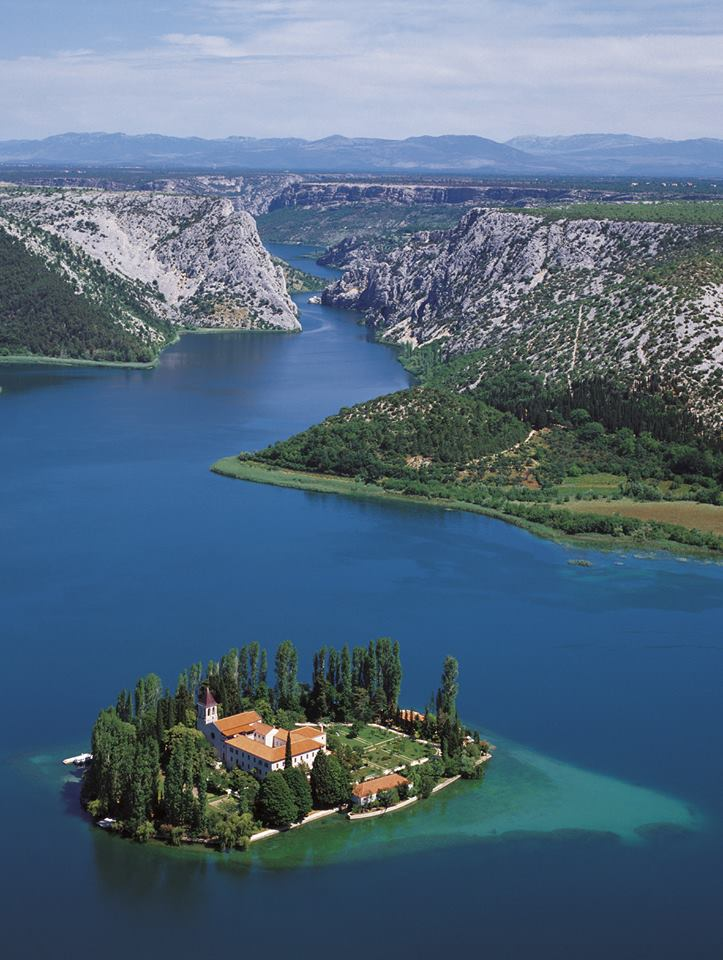 Visovac island and monastery in the middle of the lake in Krka National Park (photo credit: Visit Šibenik)