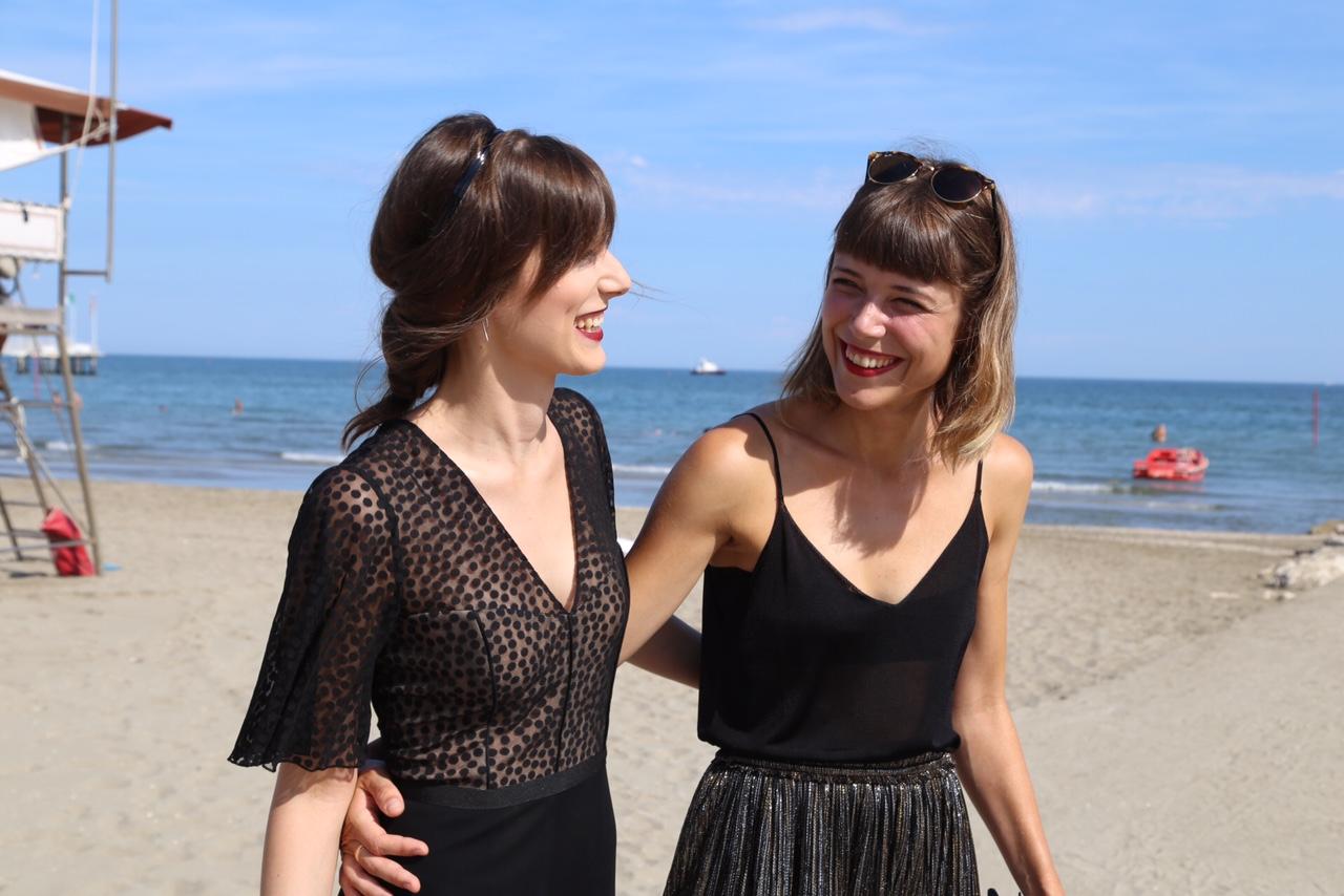 Director Hana Jušić with actress Mia Petričevic