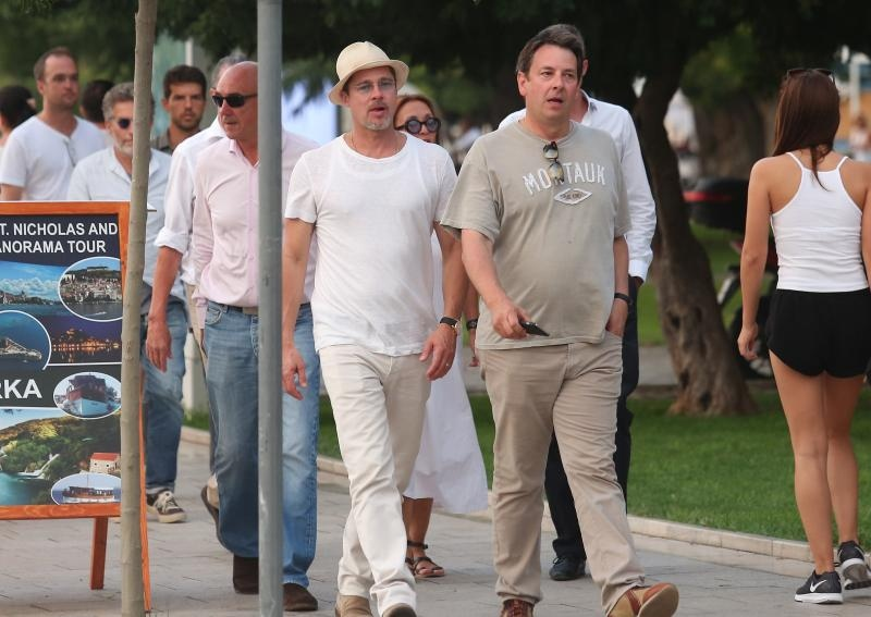 Brad Pitt strolling in Šibenik on Thursday (photo credit: Dusko Jaramaz/PIXSELL)