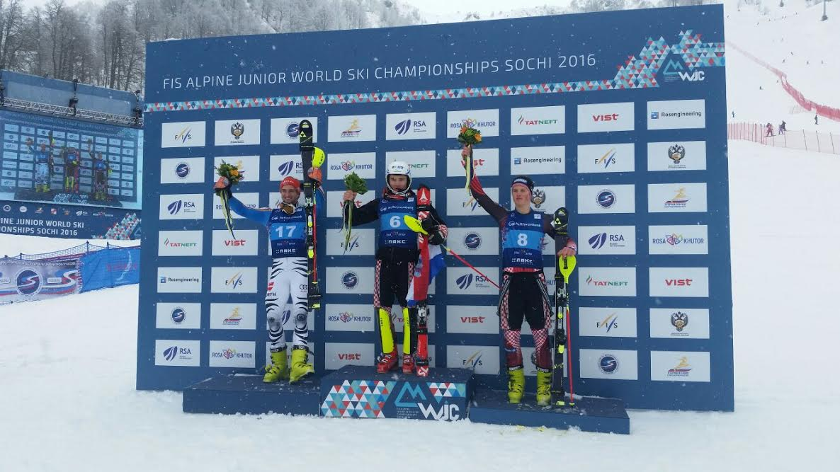 Rodeš on the podium at the World Junior Skiing Championships in Sochi