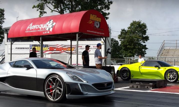 [VIDEO] Croatian Concept_One Electric Super Car Drag Races Porsche 918 Spyder
