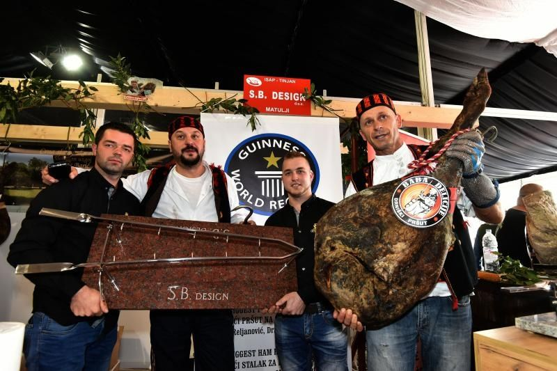 The record pršut needed a custom-made holder (photo credit: Dusko Marusic/Pixsell)