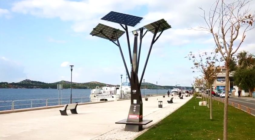 First Solar Tree goes into action in Šibenik on Monday (screenshot)