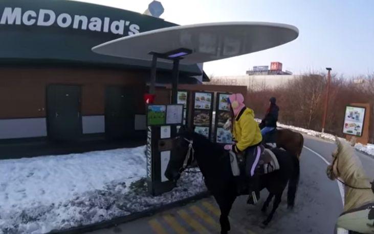 [VIDEO] McDonald's Customers Ride Horses Through Drive-Thru in Croatia