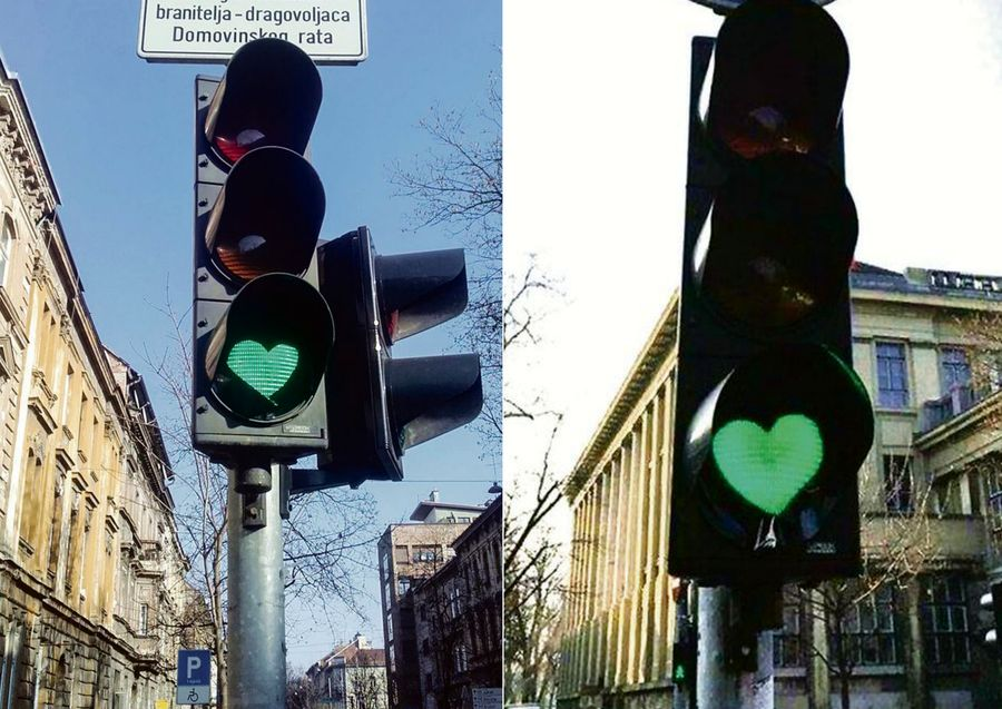 Green Traffic Lights Replaced with Hearts on Main Zagreb Road