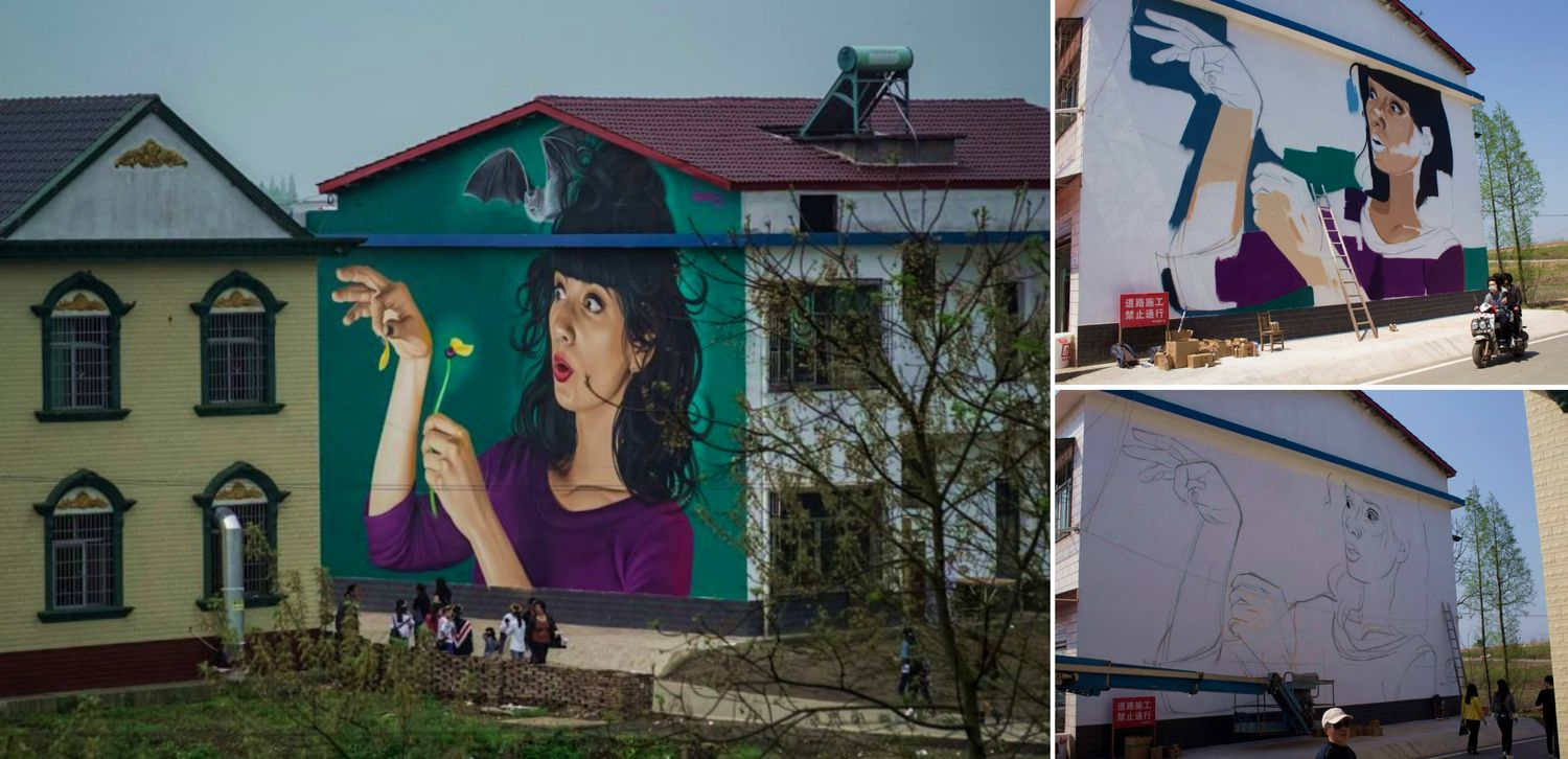 Croatian Street Artist Brightens Up China with Giant Mural