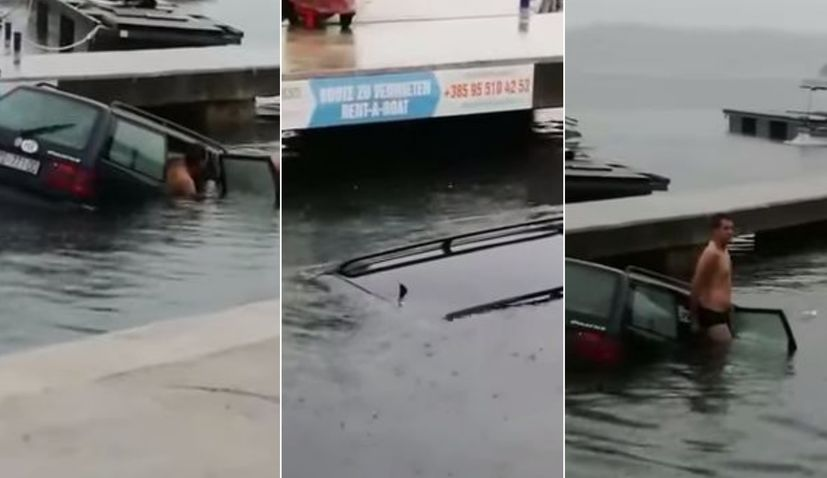 [VIDEO] Floods in Dalmatia: Heroics as Man Rescued from Sinking Car