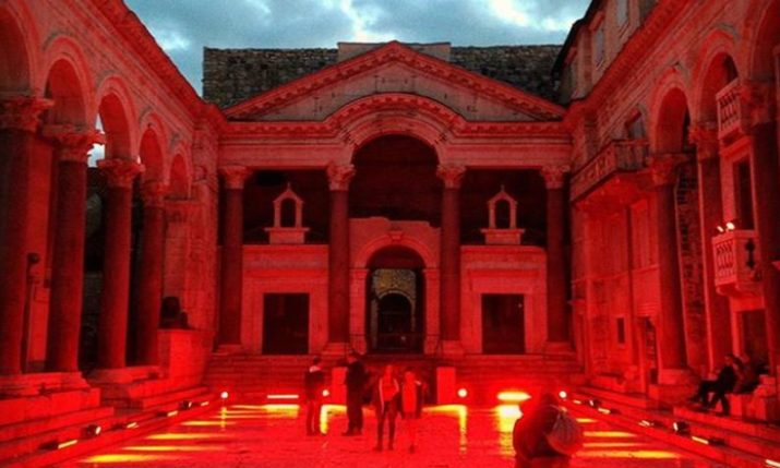 Peristil in Split Turns Red to Mark 50th Anniversary