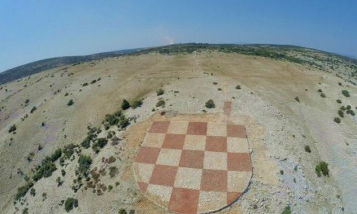 Huge Traditional Dry Stone Wall Croatian Grb Unveiled on Rab Island