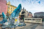 Whale sculpture put up in downtown Zagreb to warn of plastic waste in seas