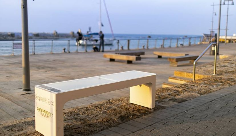Smart bench from Croatia placed at Old Jaffa Port in Tel Aviv, Israel