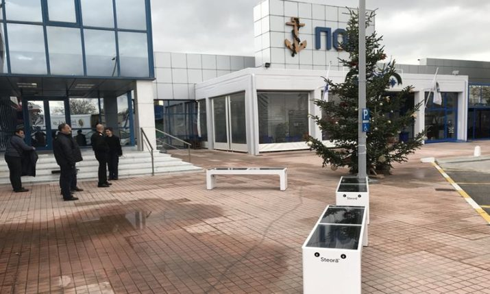 Croatian smart benches placed at one of Greece's oldest educational institutions
