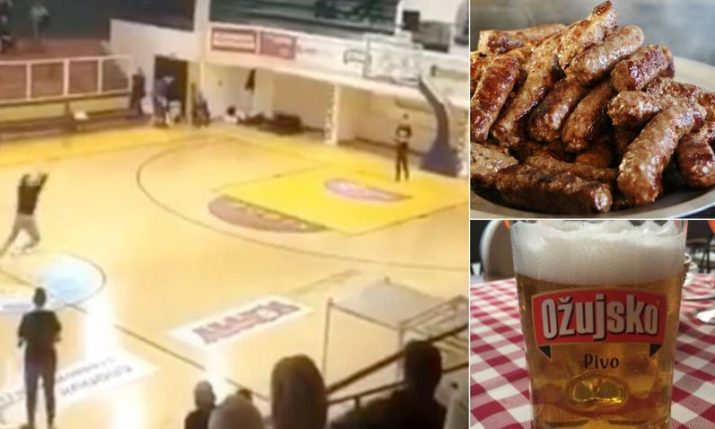 Croatian fan nails half-court shot & wins 1,200 ćevapi & 120 litres of beer