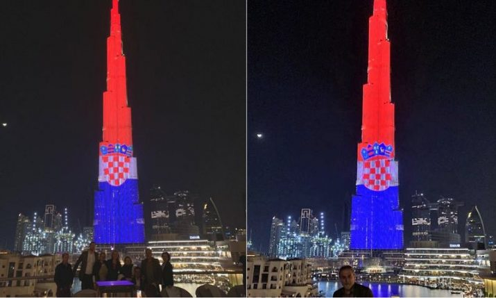 World's tallest building lights up in Croatian flag colours
