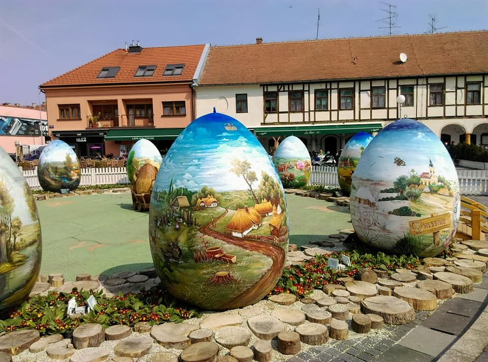 Traditional display of giant decorated Easter eggs opens in