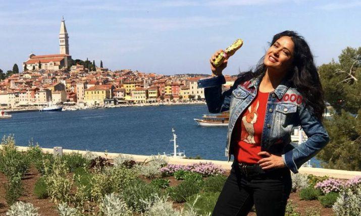 Salma Hayek enjoys Easter truffle hunt in Croatia
