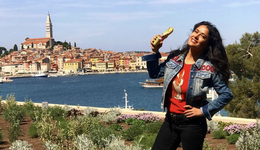 Salma Hayek enjoys Easter truffle hunt in Croatia
