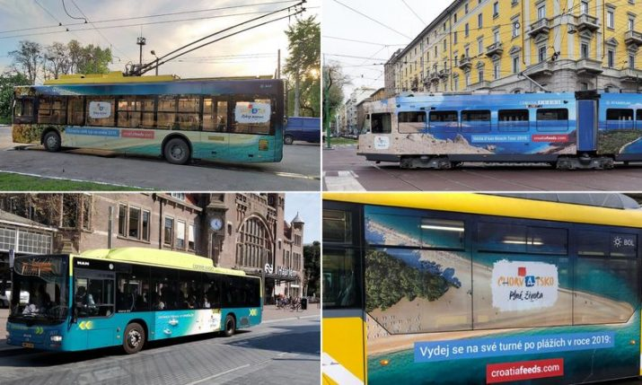 Buses & trams in European cities painted with Croatia motifs