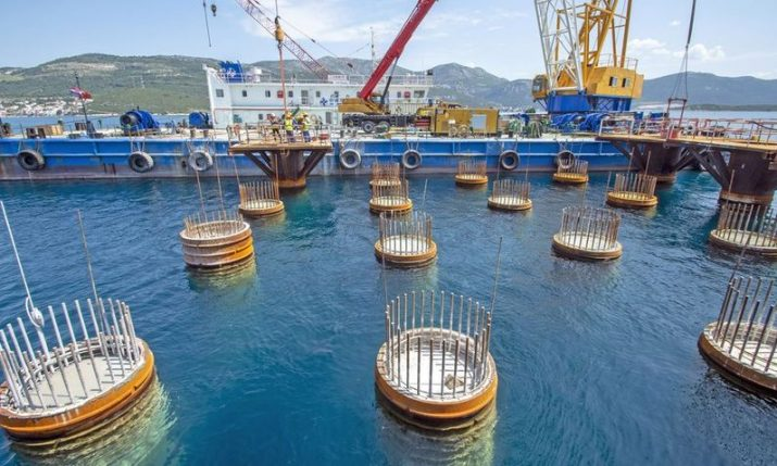 PHOTOS: Peljesac bridge starts to rise above sea surface