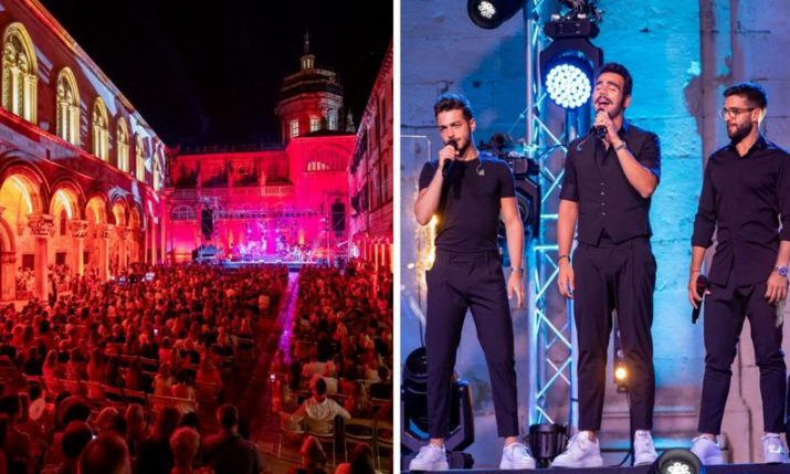 Opera pop trio Il Volo perform in front of Dubrovnik Cathedral