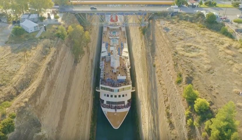 VIDEO: Croatian captain praised after claiming record for steering largest ever vessel to pass through Greece's Corinth Canal