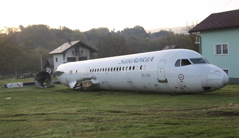 Man buys plane and parks it in his front yard in Croatian village