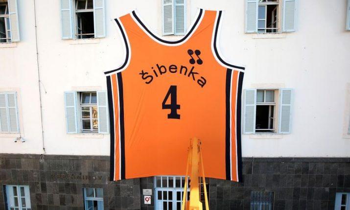Giant Dražen Petrović jersey goes up in Šibenik to mark the late great's birthday