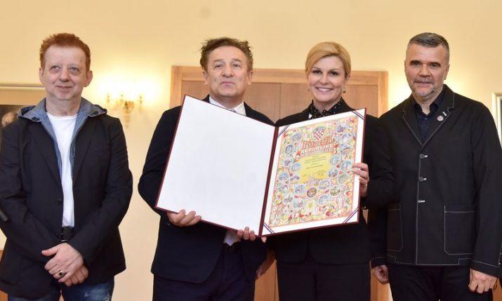 President awards charter of Croatia to band Prljavo Kazalište on 40th anniversary