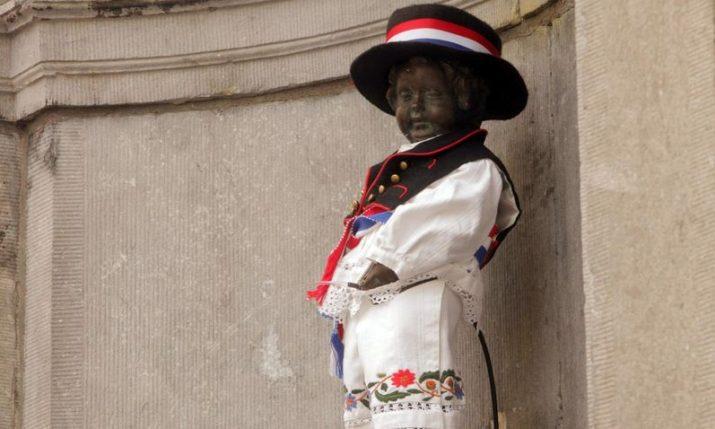 VIDEO: Manneken Pis statue dressed in Croatian folk costume