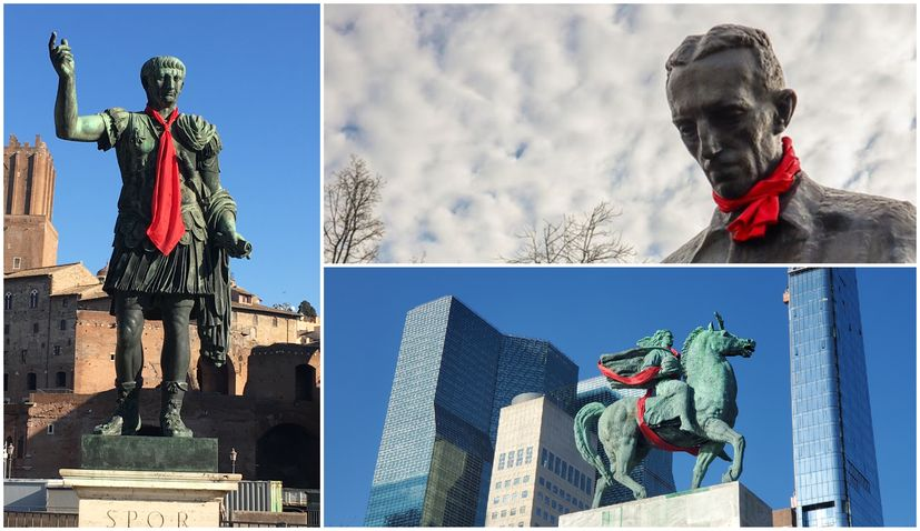 Croatian neckties placed on monuments around Europe & USA