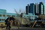 Croatian army erecting medical tent camp outside Zagreb hospital