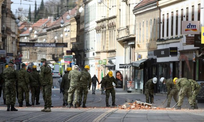Croatian army clearing up Zagreb city centre of rubble after quakes as details of damage emerges